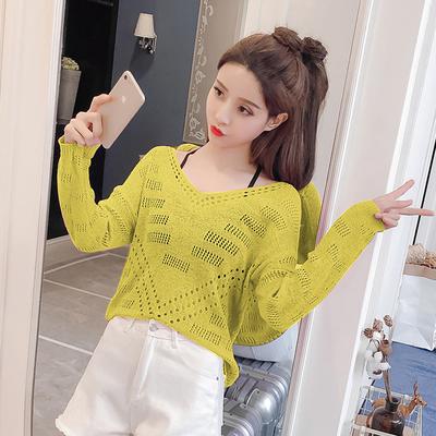 2019夏装新款韩版v领镂空后背系带宽松长袖针织衫女防晒罩衫上衣