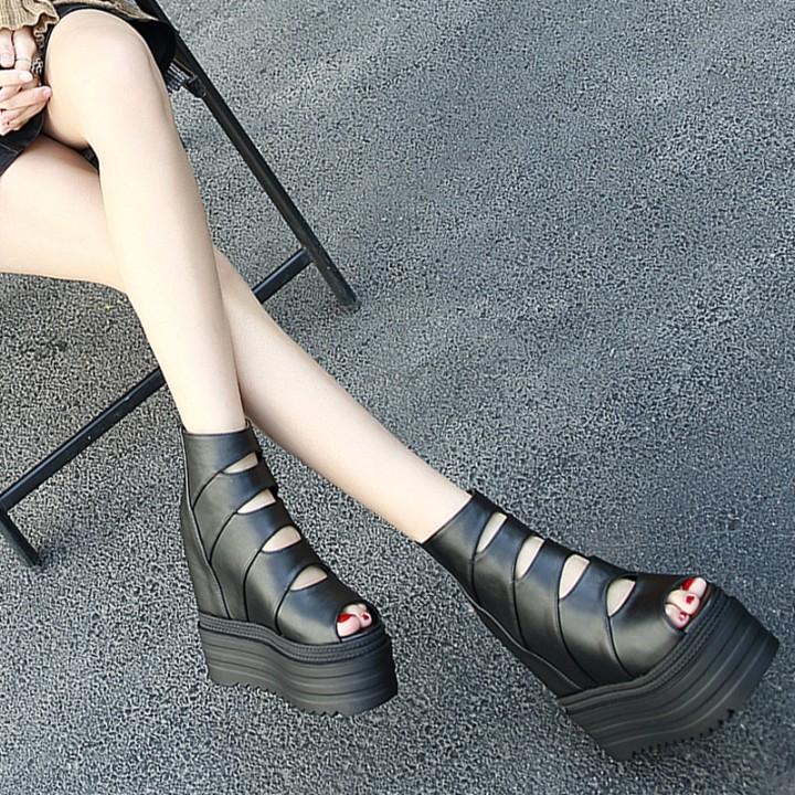 厚底超高跟坡跟鱼嘴鞋子女夏凉鞋女2019新款内增高高跟鞋网红百搭