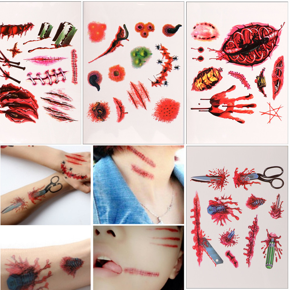 Halloween tattoo stickers fake scars stickers fake scars stickers fake wound stickers Halloween makeup party bar