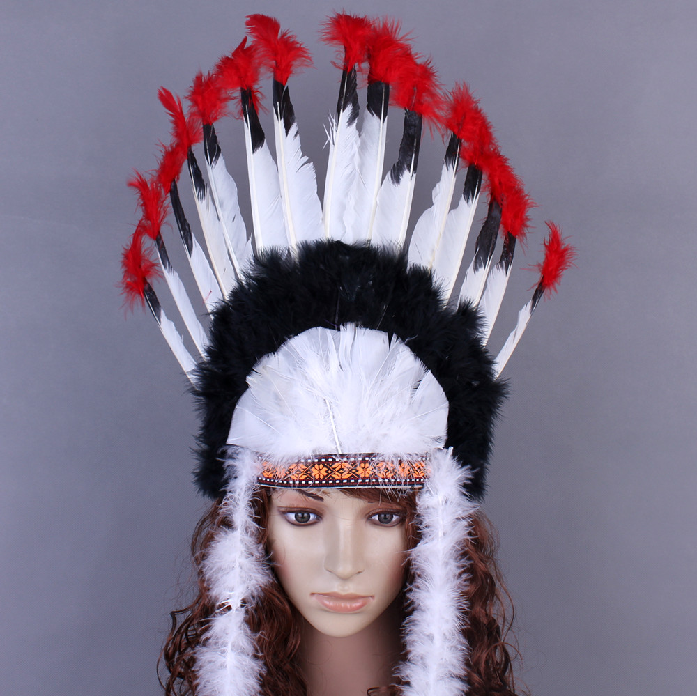 Lin Fang 60g feather headdress Indian feather headdress red and