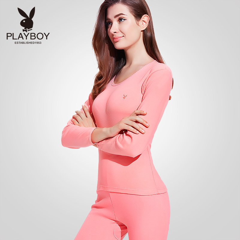 Playboy women's Autumn pants thin cotton round collar Foundation slimming Lady warm underwear set autumn and winter