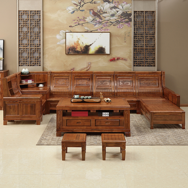 Solid Wood Corner Sofa Combination Chinese Antique Carved Storage Camphor Wood  Sofa U Type Multi Combination ...