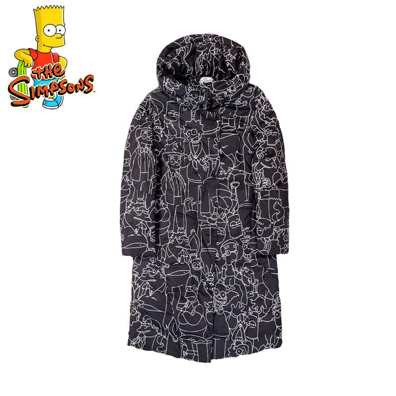 辛普森时尚大衣外套女秋冬装新款潮卡通印花中长款羽绒服一家潮