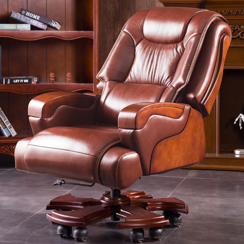 Li Fulong Leather Boss Chair Leather Executive Chair Solid Wood Office Chair  Massage Reclining Swivel Chair Home Computer Chair