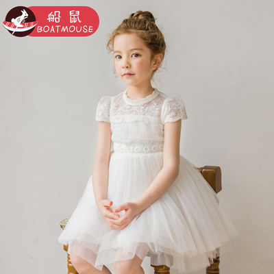 56b9544b385a Boat mouse girl lace dress summer 2019 new white children s ...