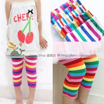 Korean version of the summer girls' wear baby children's leggings candy color striped pants pants girls pants pants cotton