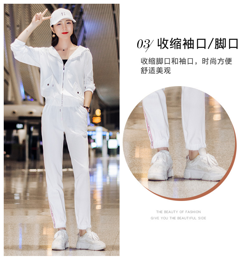 Sportswear set autumn new 2020 Korean version of loose-fitting large-size fashion casual wear two-piece set thin 48