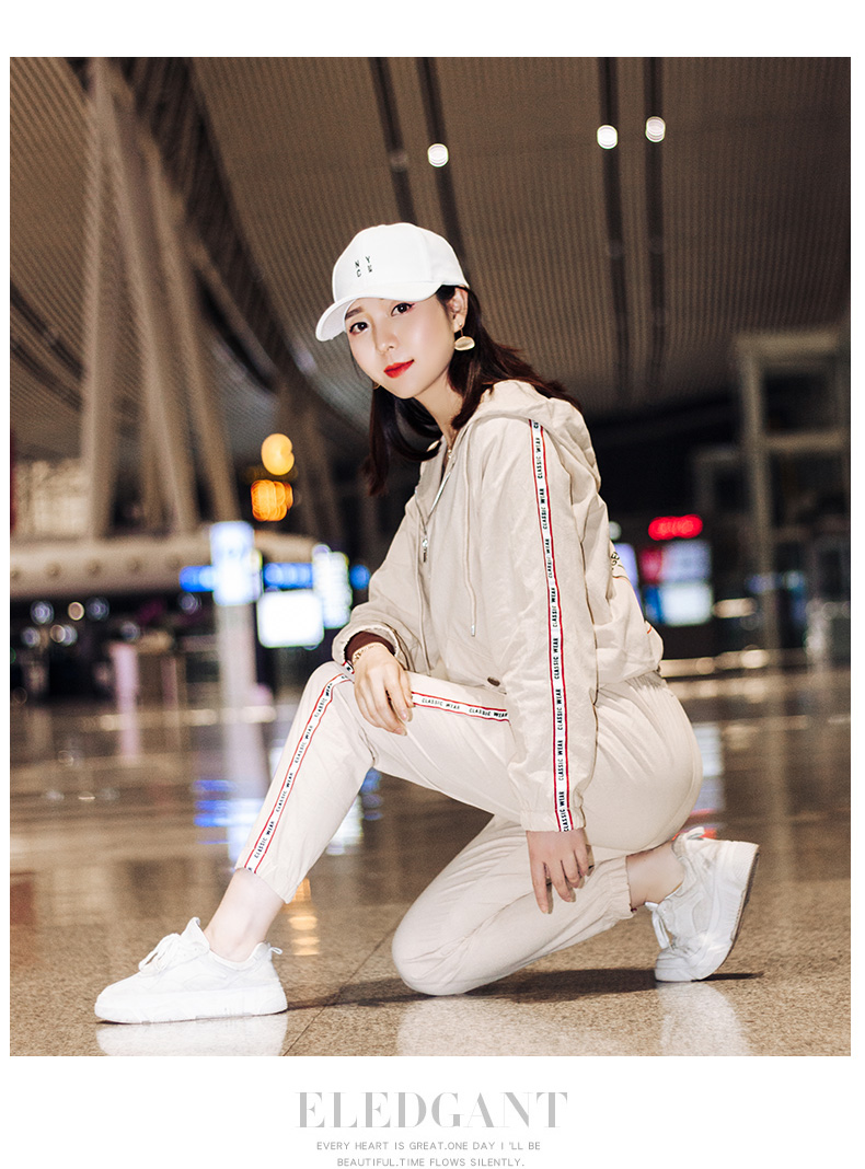 Sportswear set autumn new 2020 Korean version of loose-fitting large-size fashion casual wear two-piece set thin 58