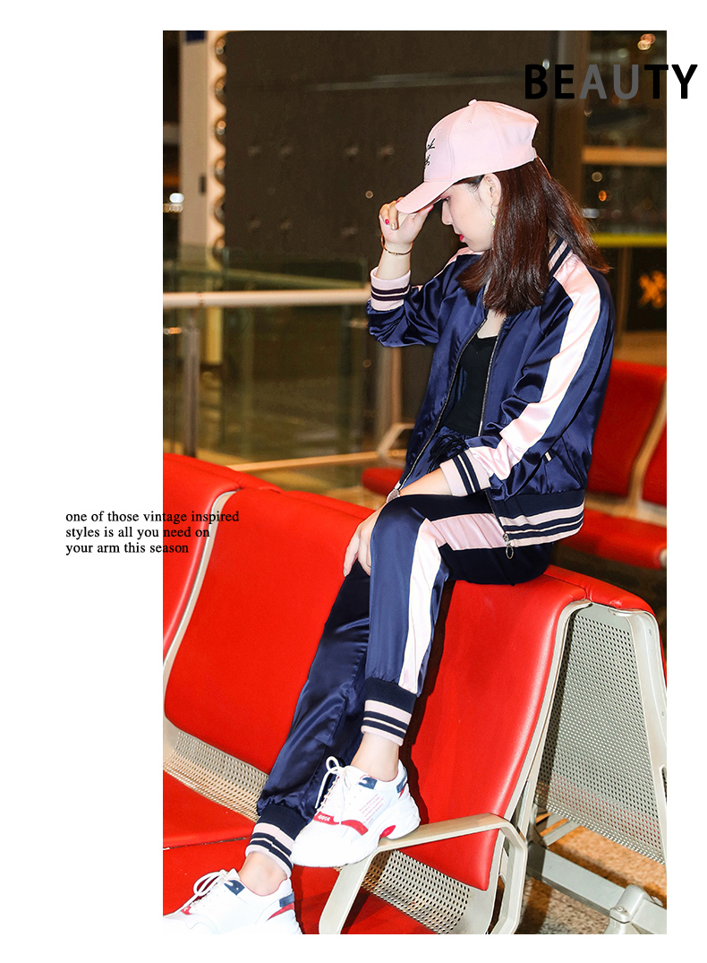 Sportswear set autumn new 2020 Korean version of loose-fitting large-size fashion casual wear two-piece set thin 63