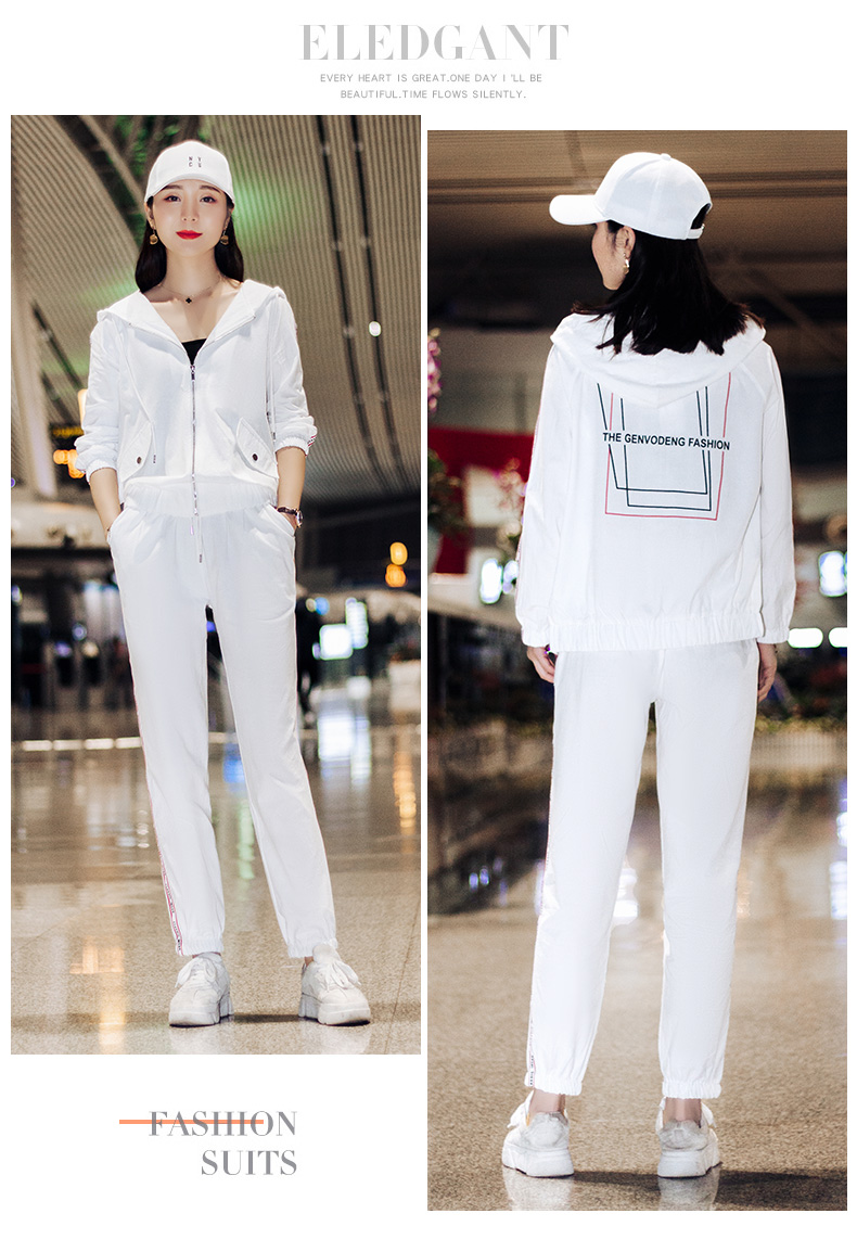 Sportswear set autumn new 2020 Korean version of loose-fitting large-size fashion casual wear two-piece set thin 52