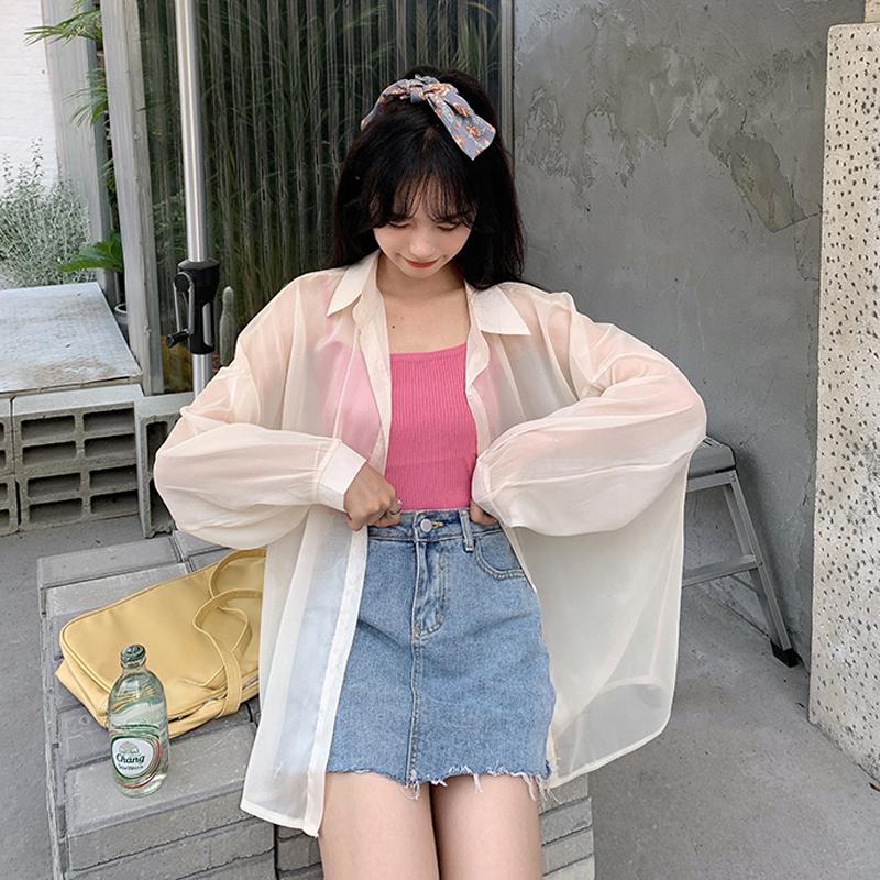 白色珠光防晒衣女衬衫2021新款夏季薄款透视高级感超仙雪纺上衣服(【可可里小姐】夏季白色珠光防晒衣女衬衫)