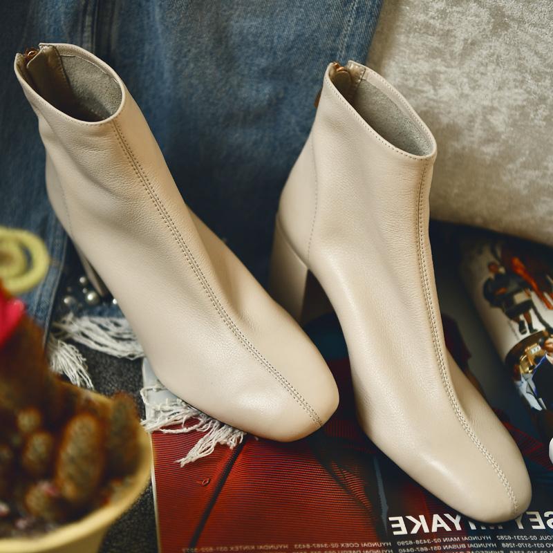 正品真皮洛百丽何其丑乳白色短靴女粗跟官方网红高跟鞋女靴春季加