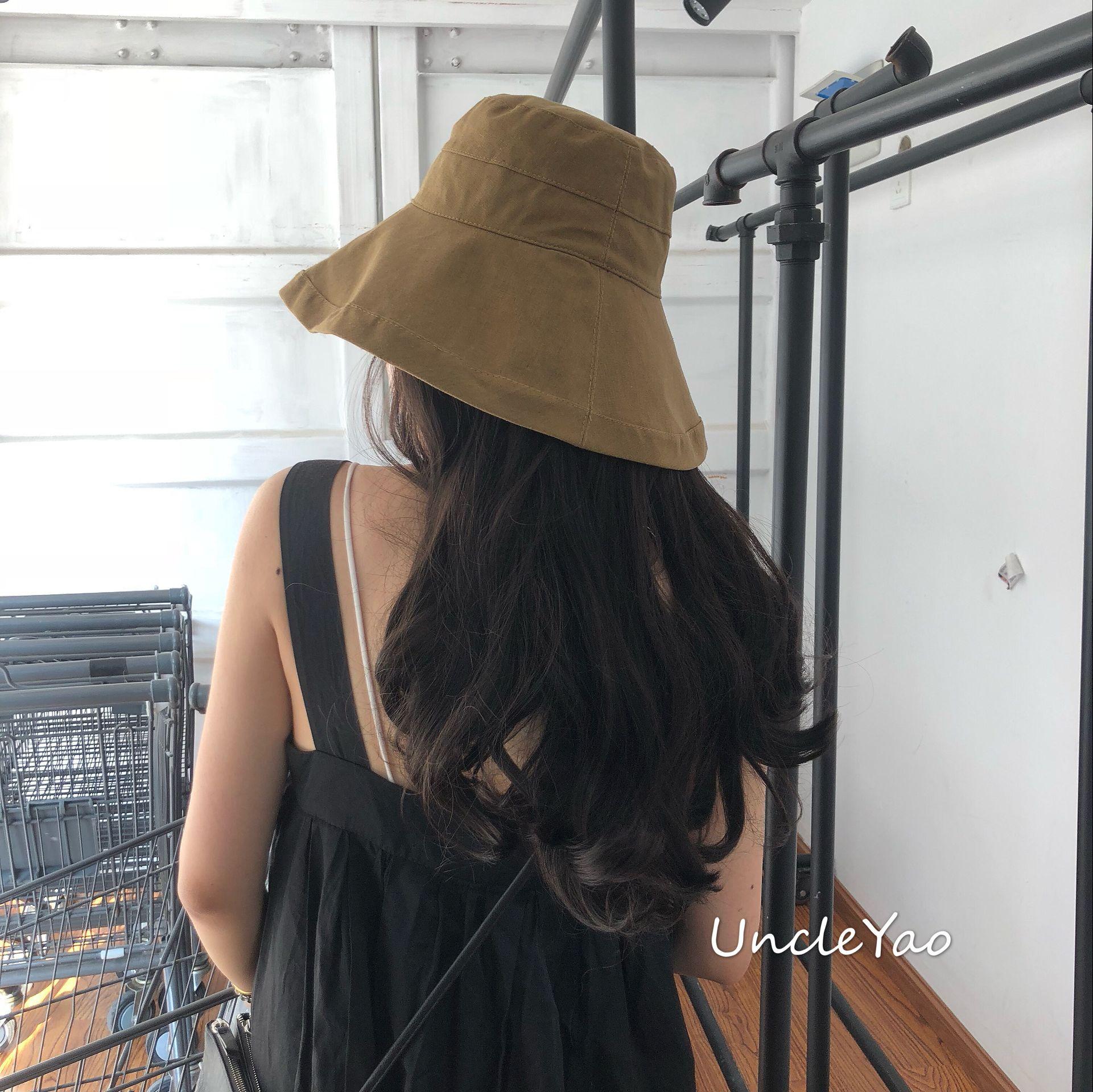 有棉麻的品位戴的卡布奇诺色人才帽!渔夫日式大檐帽可折叠遮阳帽