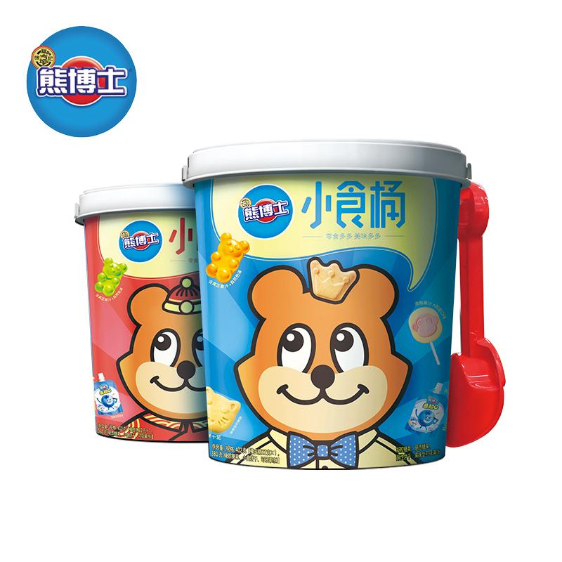 徐福记小食桶圆桶装402g夹心饼干糙米卷膨化零食品大礼包新年货