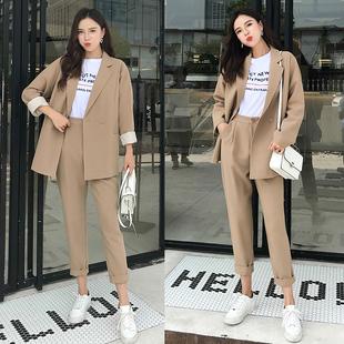 Корея случайный британская мода темперамент дикий свободный пальто костюм установите женщина весна мода два рукава