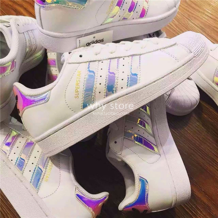 Agencia de viajes Negociar Abolido  Adidas superstar clover laser mirror shell head woman casual shoes small  white shoes AQ6278
