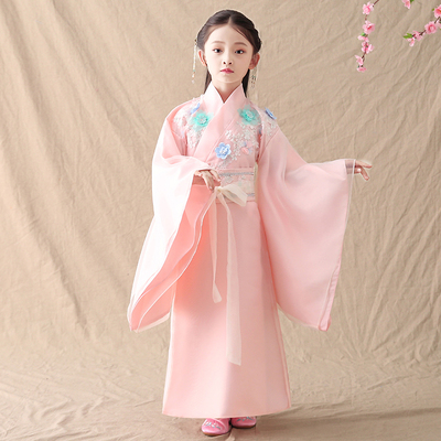 Girls' roll children, Tang Dynasty fairy dress, children's wear, guzheng, Hanfu, children's wear, women's costume.