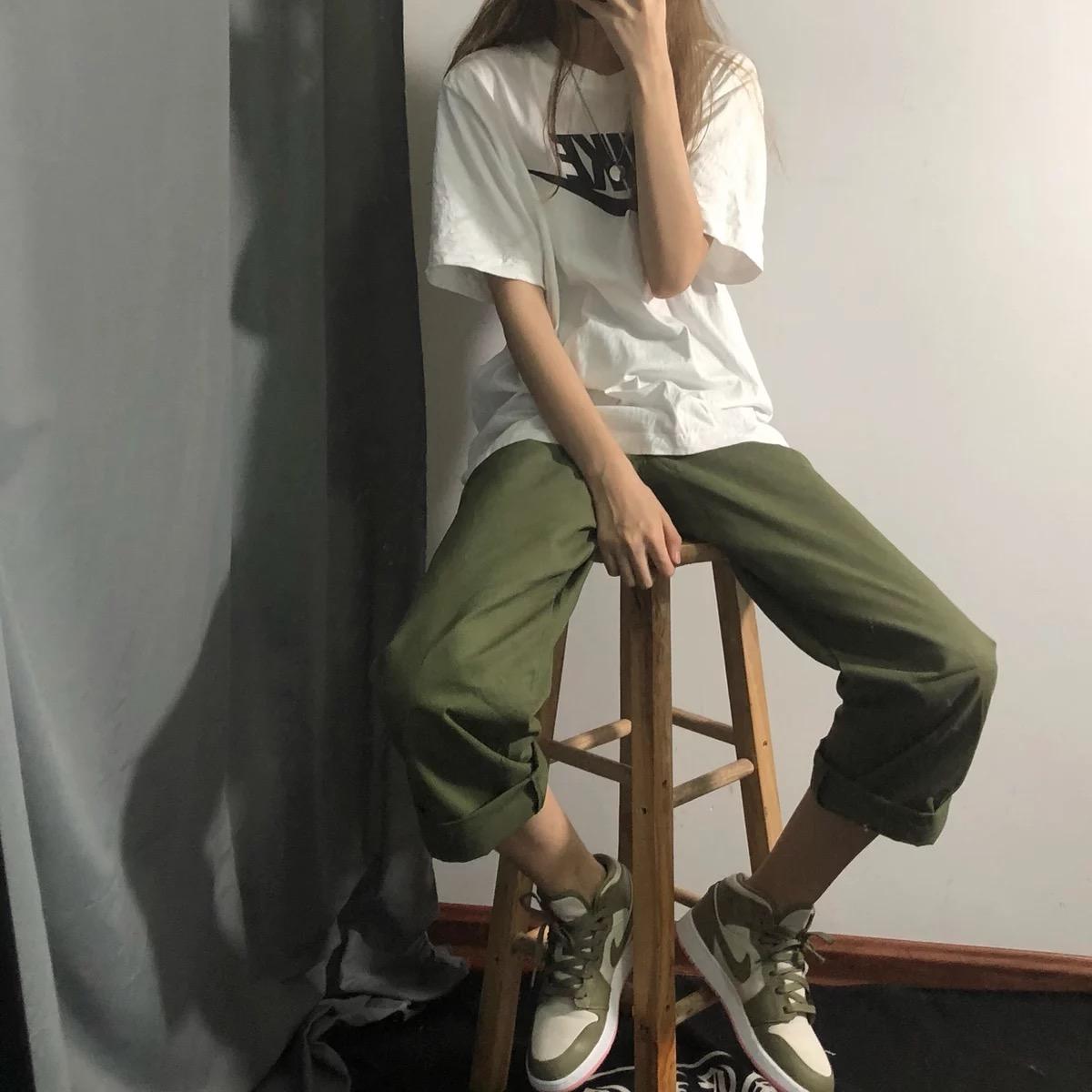 ins工装裤男春夏百搭潮牌港风坠感阔腿裤直筒裤子宽松日系九分裤