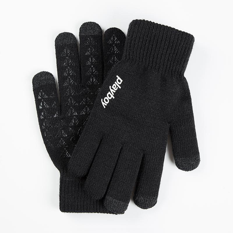 加厚保暖情侣款触屏手套,全指针织手套