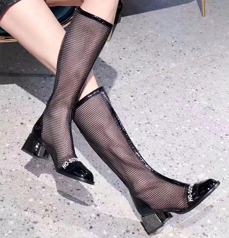 欧洲站高筒2019夏新款女真皮女鞋镂空网纱粗靴子高跟长靴凉靴网靴