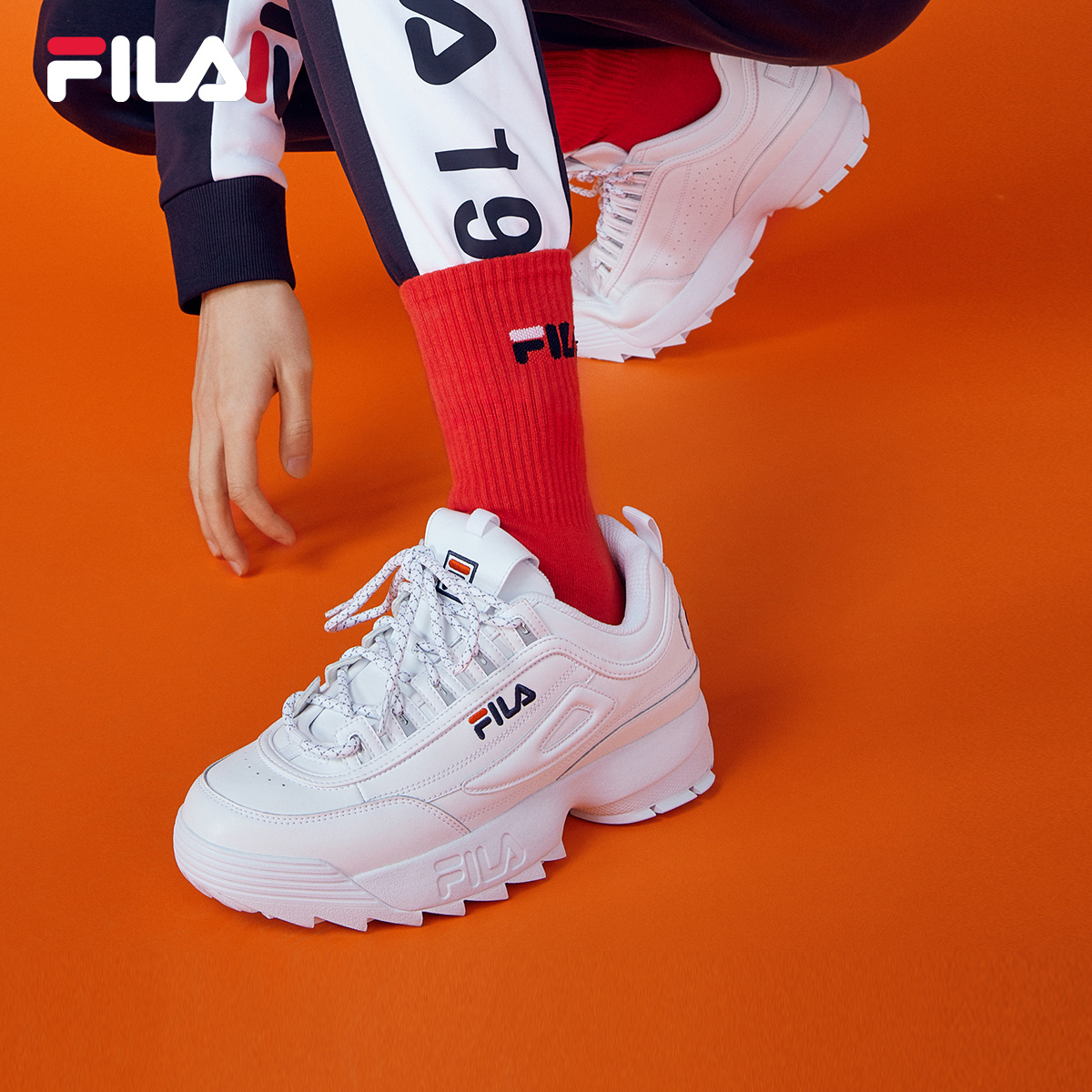 FILA Phile men's shoes 2019 new running shoes stitched with fashion leather sports casual shoes daddy shoes male ins tide