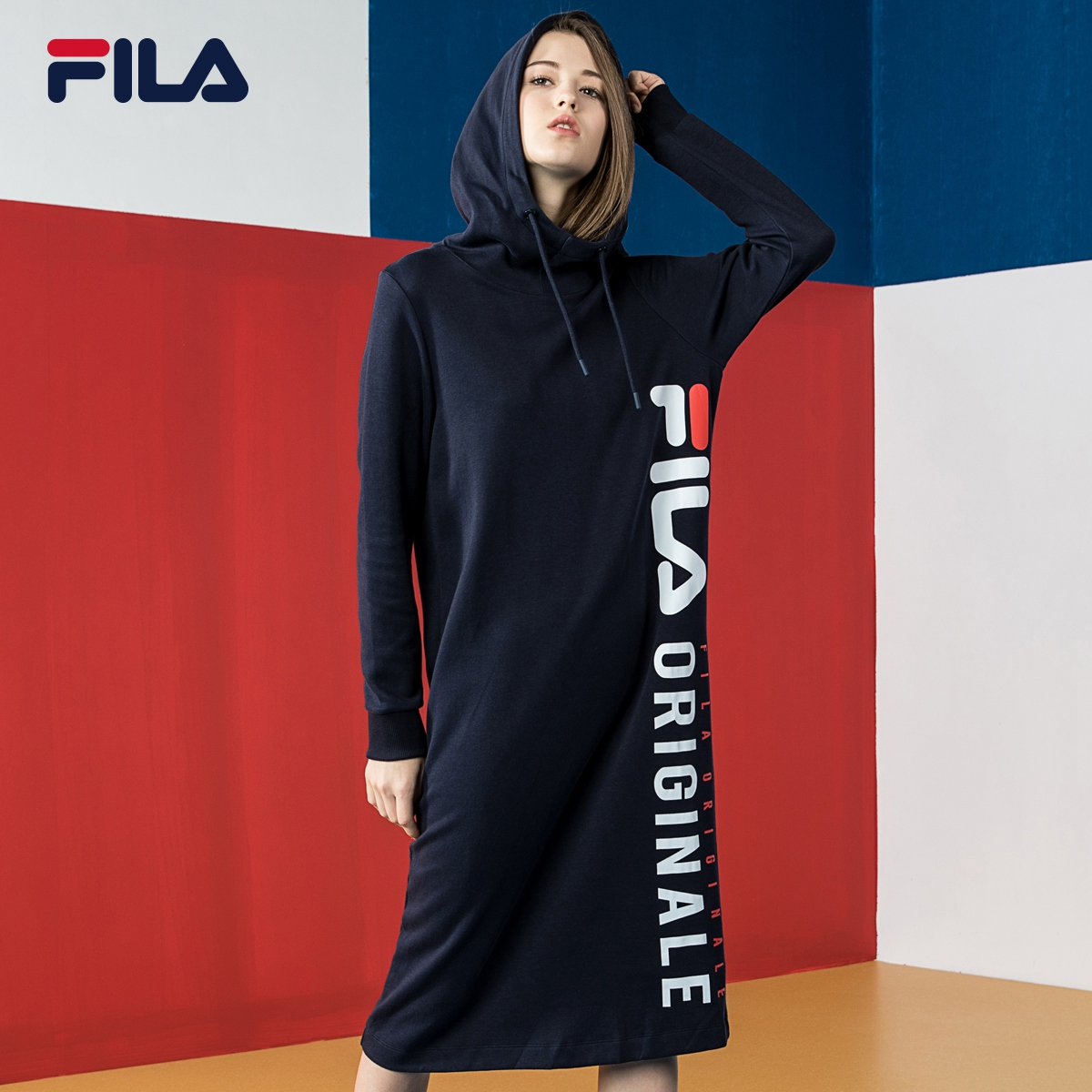 FILA Fila dress 2018 mùa thu thể thao mới ăn mặc giản dị nữ
