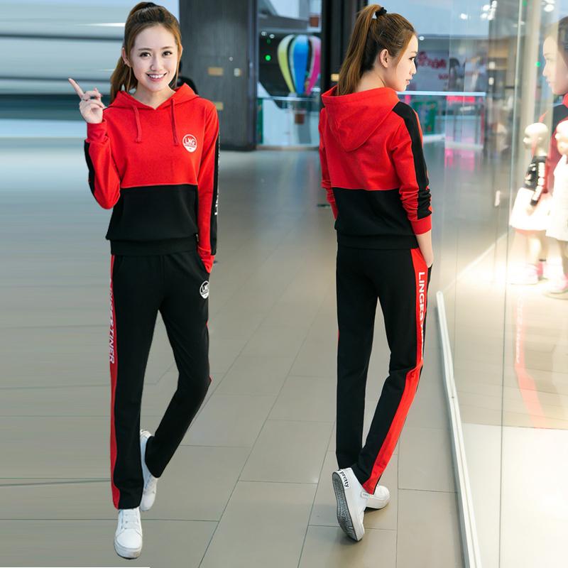 青少年秋季韩版少女长袖长裤运动服两件套初中高中学生休闲套装女