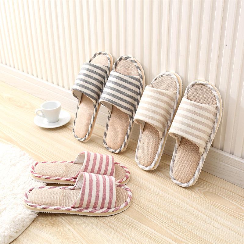 条纹亚麻四季室内拖鞋棉麻情侣防滑软底家居木地板凉拖鞋