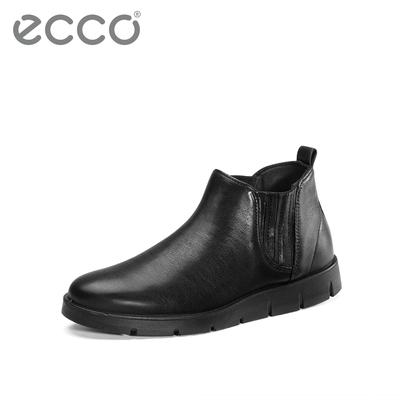 ECCO爱步黑色小短靴女平底皮靴女 秋冬女鞋靴子女 贝拉系列282173