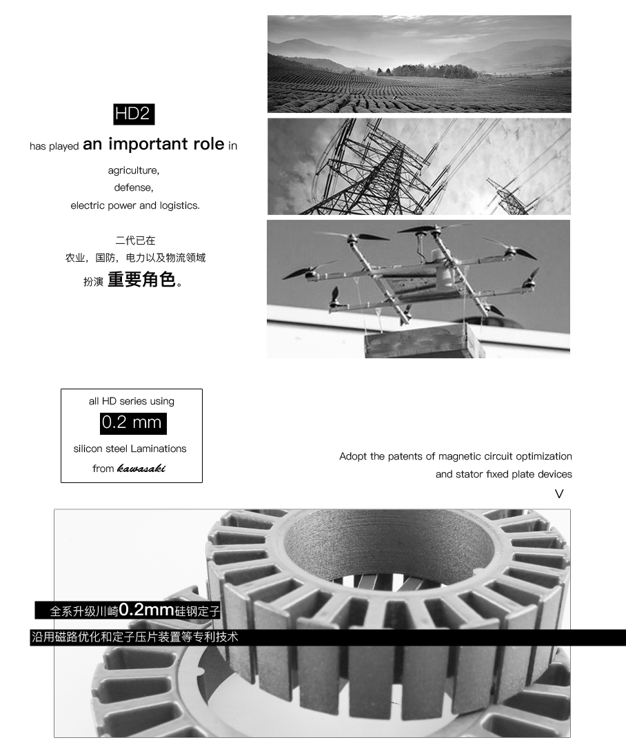 Dualsky XM9010HD-13 140KV agricultural protection logistics aerial camera drone multi-rotor disc motor
