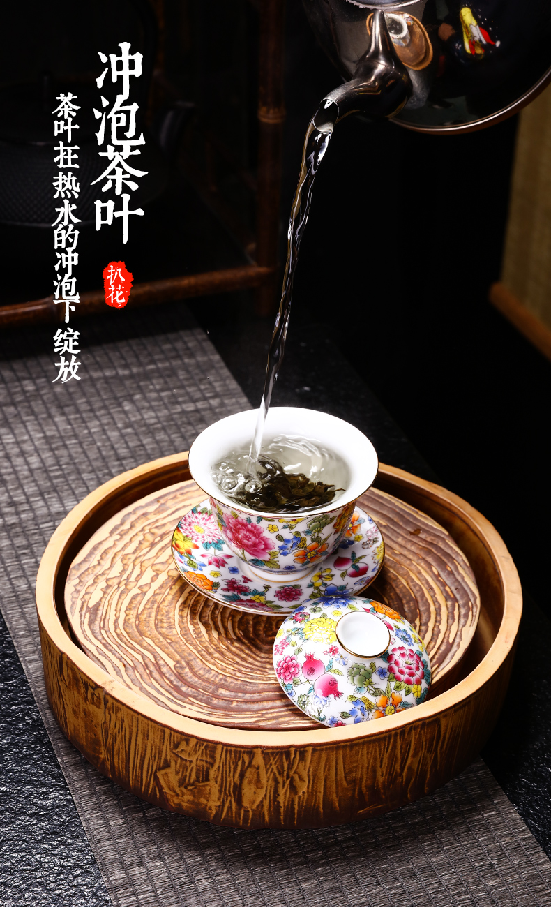 Jingdezhen ceramic blue three only three fort wsop rice, a cup large tureen sweet blue - and - white bowl and cups