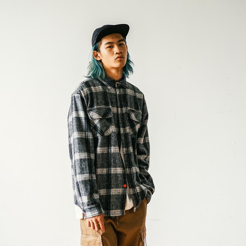 XANAX美式街头法兰绒衬衣衬衫男滑板宽松双口袋格子外套秋厚款