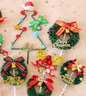 铁艺圣诞树圣诞节蛋糕装饰插件插旗插卡