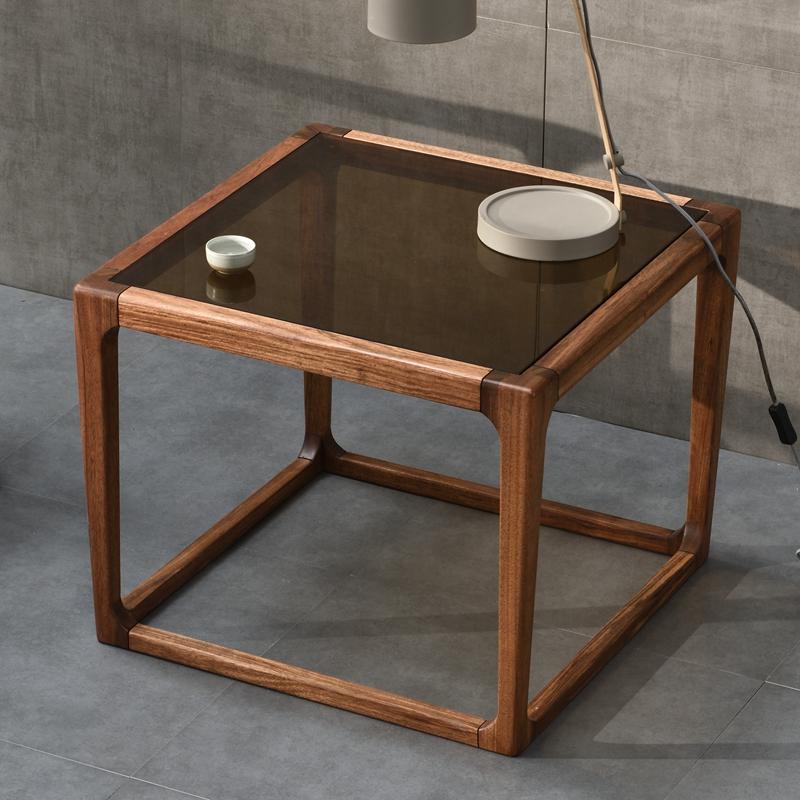 北歐烏金木角幾新中式鋼化玻璃茶幾實木客廳家具簡約沙發邊幾方幾