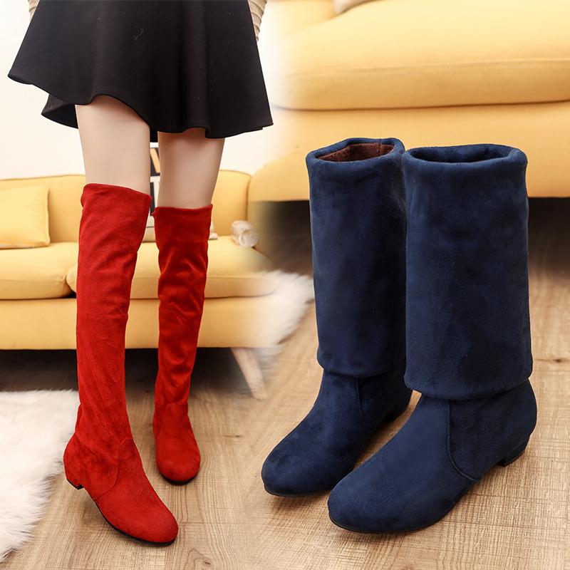 弹力新款瘦瘦靴过膝女鞋靴长筒靴子女靴特大号414243特大码秋冬