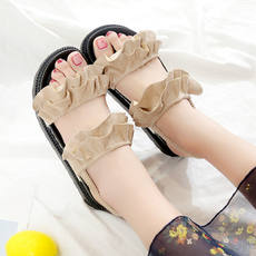 Roman sandals female summer 2018 new Korean wild flat shoes student platform shoes shoes thick bottom exposed toe shoes