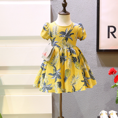 Girls dress Han Fan children 's clothing 2017 summer new lady pineapple cotton cool waist skirt 1205