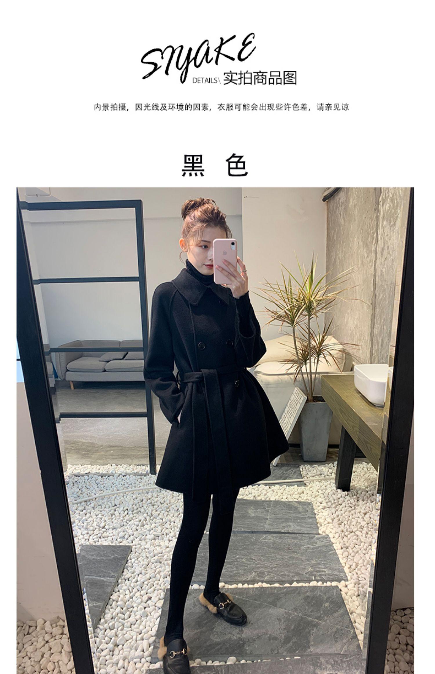2019黑色双面羊绒大衣女赫本风中长款修身显瘦收腰小个子毛呢外套商品详情图