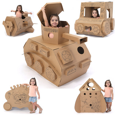 Children's doodle tent kindergarten handmade DIY toy painted house cardboard car train tank plane