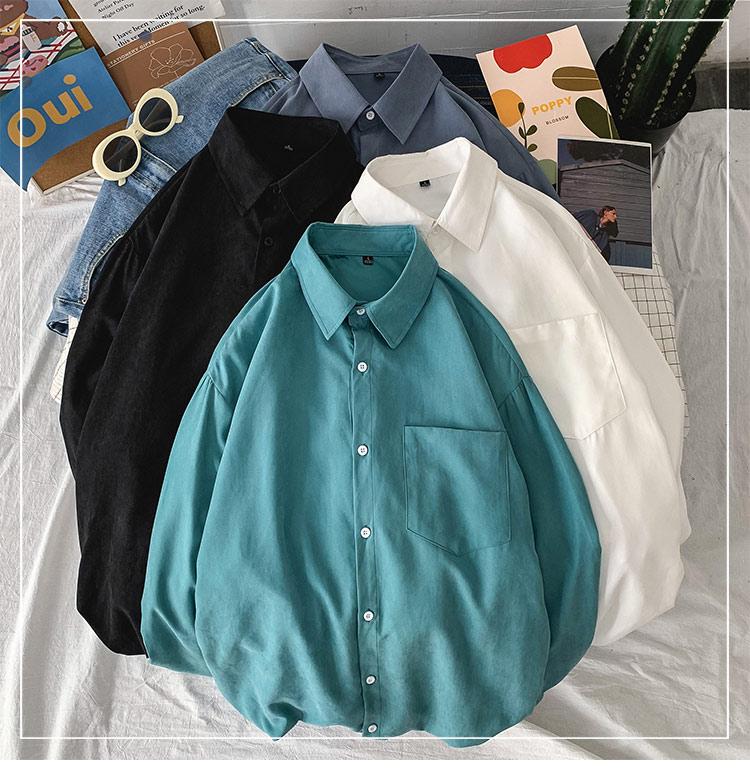 单口袋纯色长袖衬衣情港风宽松休闲大码中性风学生情侣装 C741P30