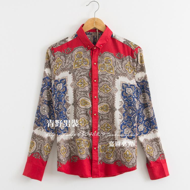 时尚潮男巴洛克风腰果花衬衫男士韩版修身宫廷复古长袖花超值新品