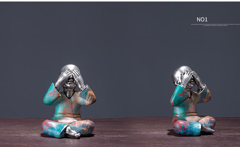 〖洋碼頭〗三不和尚藝術品 家居家裝飾品辦公室客廳電視櫃酒櫃酒架房間擺件 xtj298