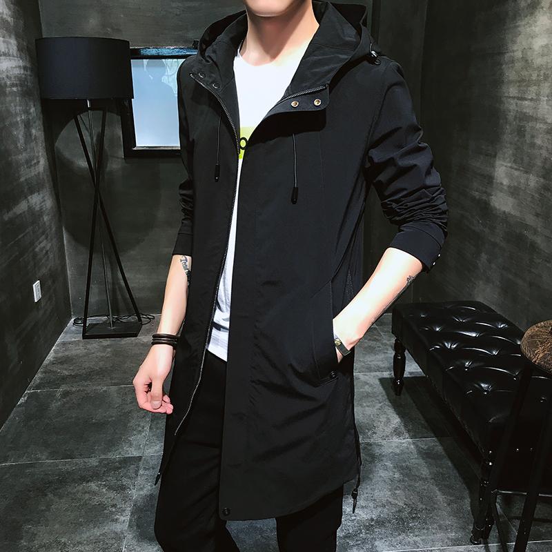 青少年学生秋季连帽上衣风衣中长款修身外套夹克薄款v上衣百搭男士