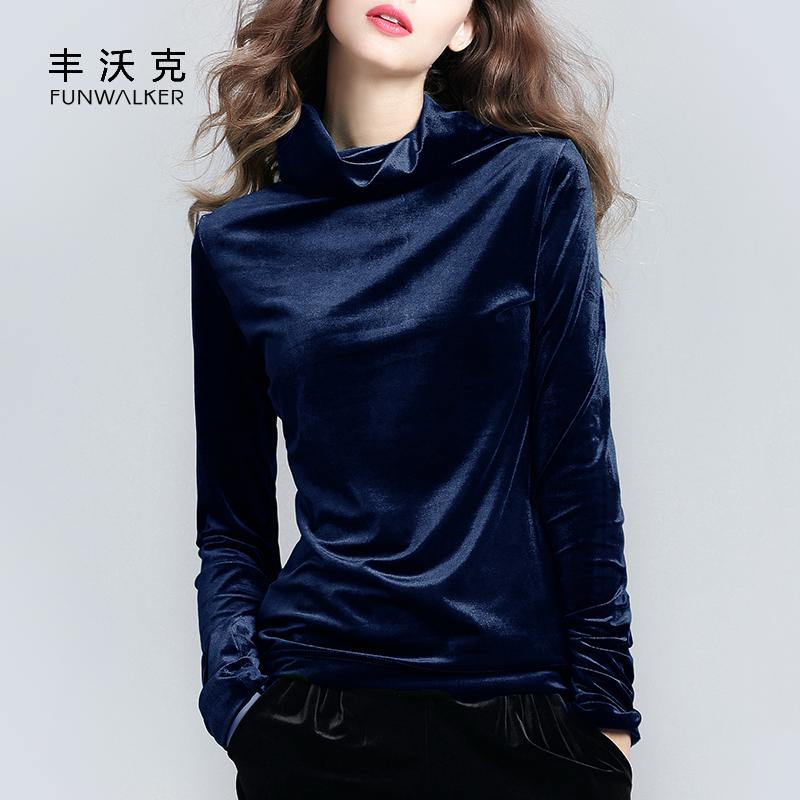 金丝绒打底衫女大码长袖宝蓝色上衣修身半高领加绒加厚绒内搭秋冬