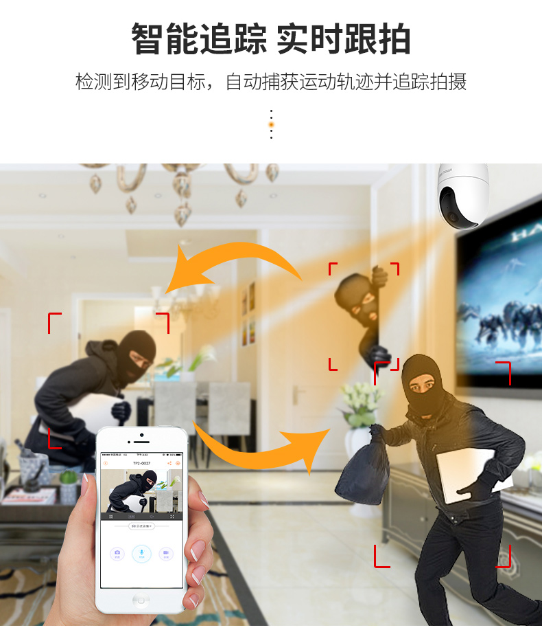 大华乐橙TP2无线摄像头高清夜视监控器家用云手机wifi远程全景360商品详情图