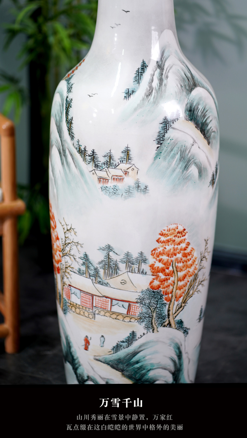 Jingdezhen pastel hand - made scenery large sitting room landing big vase furnishing articles household porcelain ceramic decoration gifts