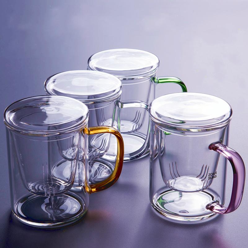 耐热玻璃茶杯泡茶杯花茶杯茶水分离带过滤水杯带把男女办公室杯子