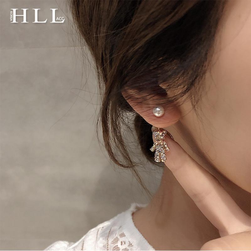 珍珠东耳环代购精致超闪可爱小熊耳环施华洛水钻大门耳坠韩国时尚