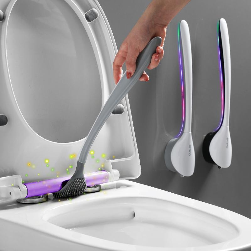 马桶刷无死角家用洗厕所硅胶刷子挂墙式去死角神器清洁卫生间套装