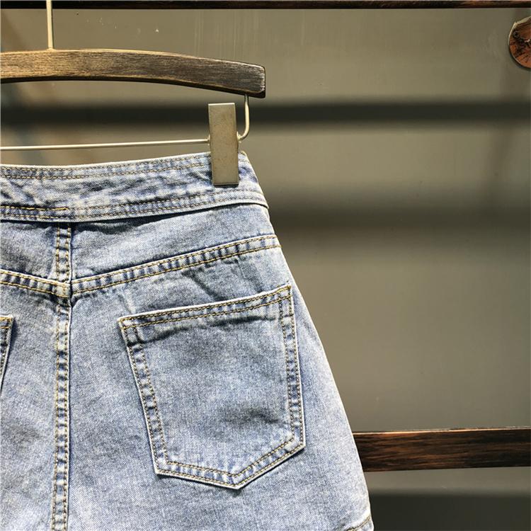欧洲站牛仔短裙女半身裙秋季新款韩版个性歪口袋百搭包臀裤裙详细照片